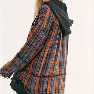 Free People Plaid Jacket Hood Flannel Buttondown L